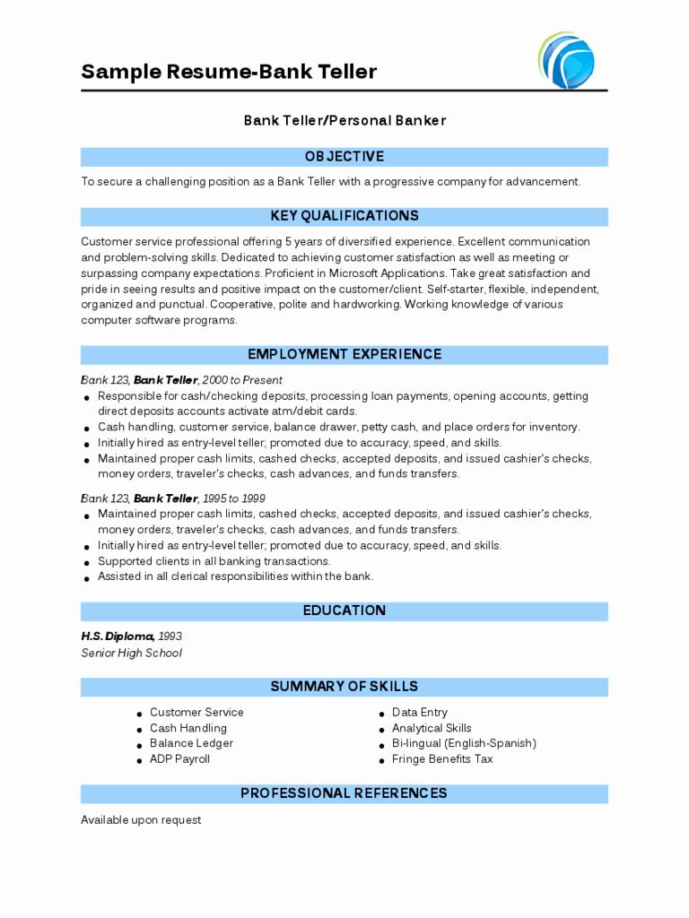 Sample Resume for Bank Teller Edit Fill Sign Line