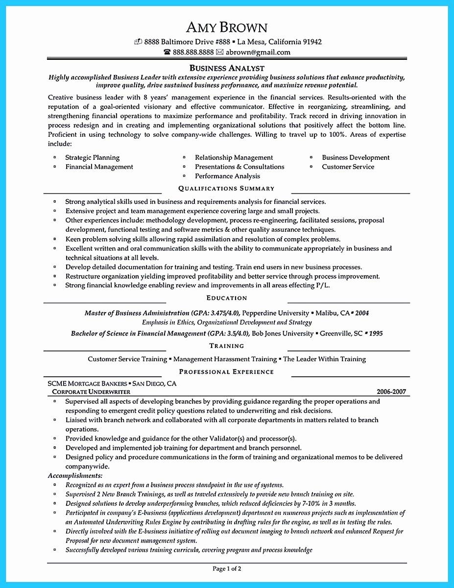 Sample Resume for Business Management Position