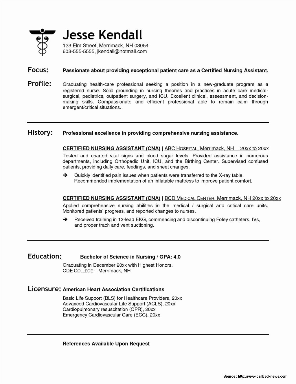 Sample Resume for Cna Position Resume Resume Examples