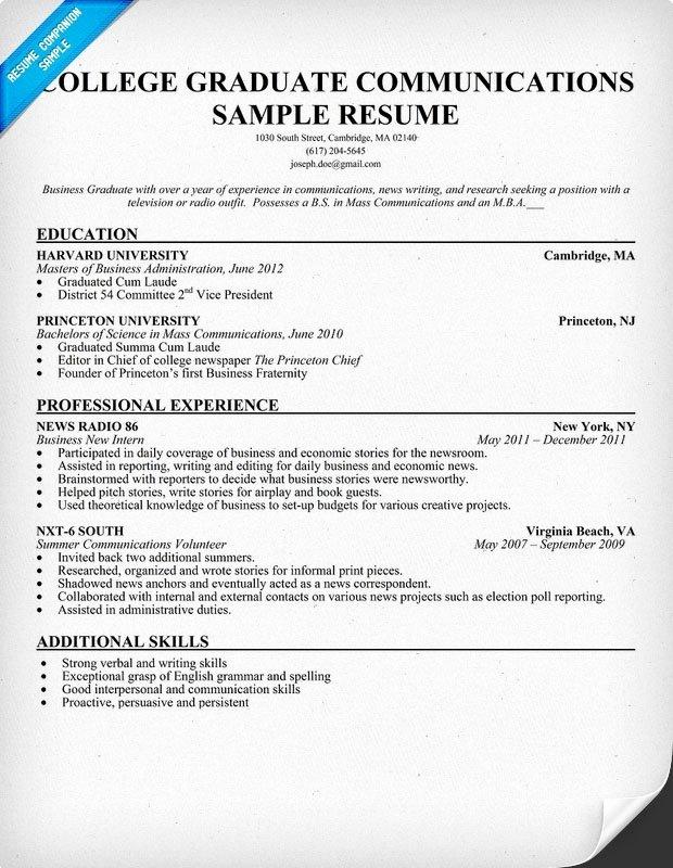 Sample Resume for College Graduate