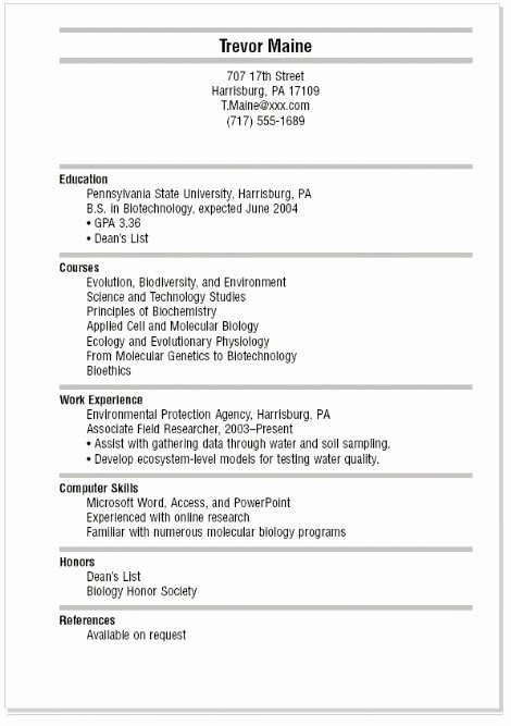 Sample Resume for College Students