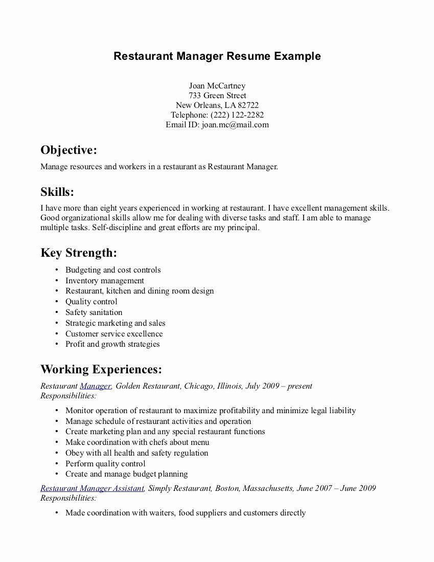 Sample Resume for Food Server Job Duties List Professional