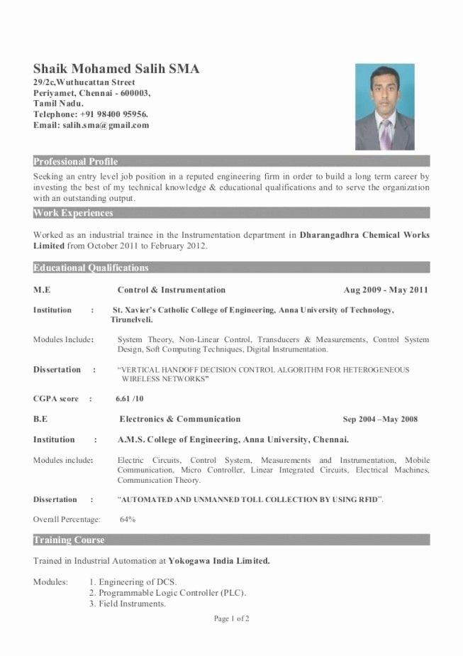 Sample Resume for Fresher Mechanical Engineering Student