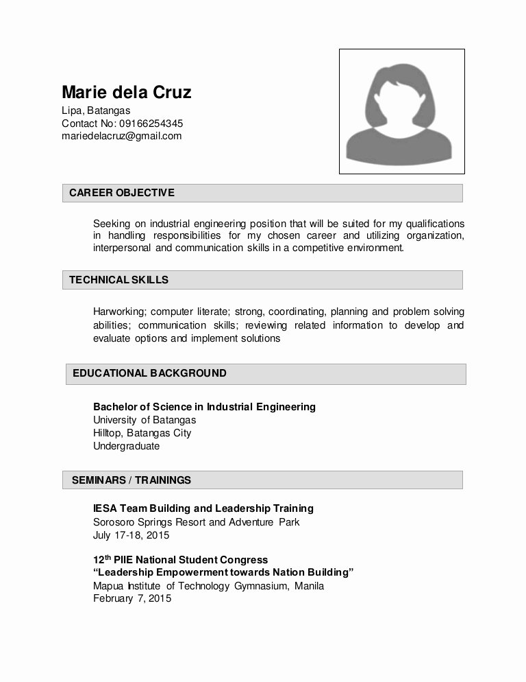 Sample Resume for Industrial Enginering