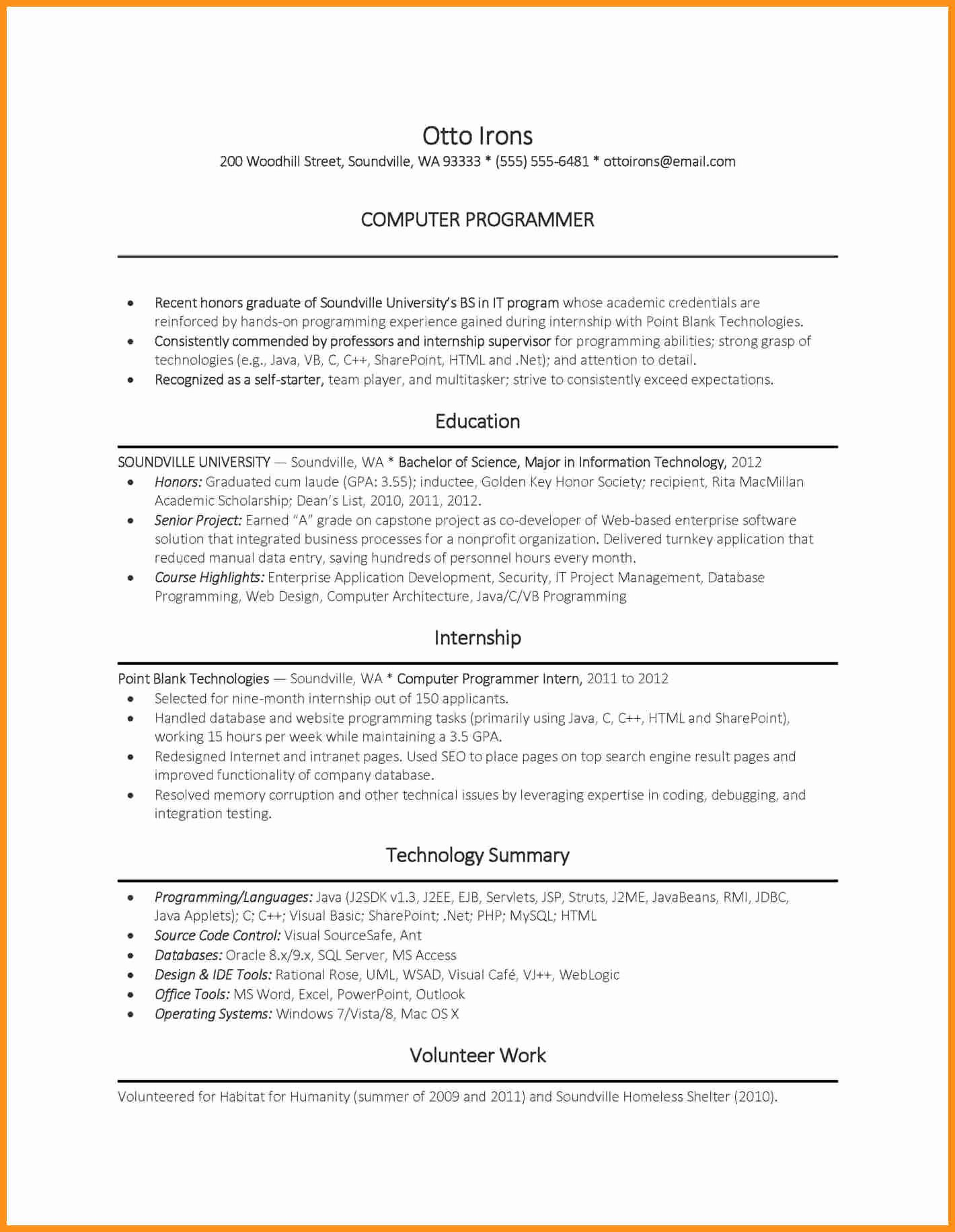 Sample Resume for Internship In Puter Science