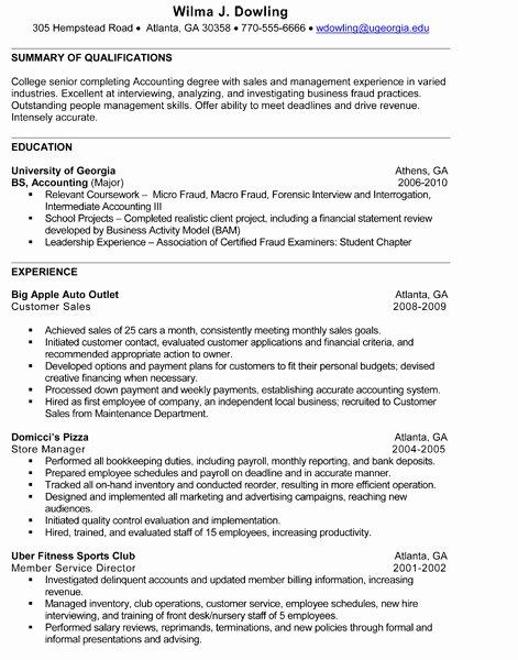 Sample Resume for Internship
