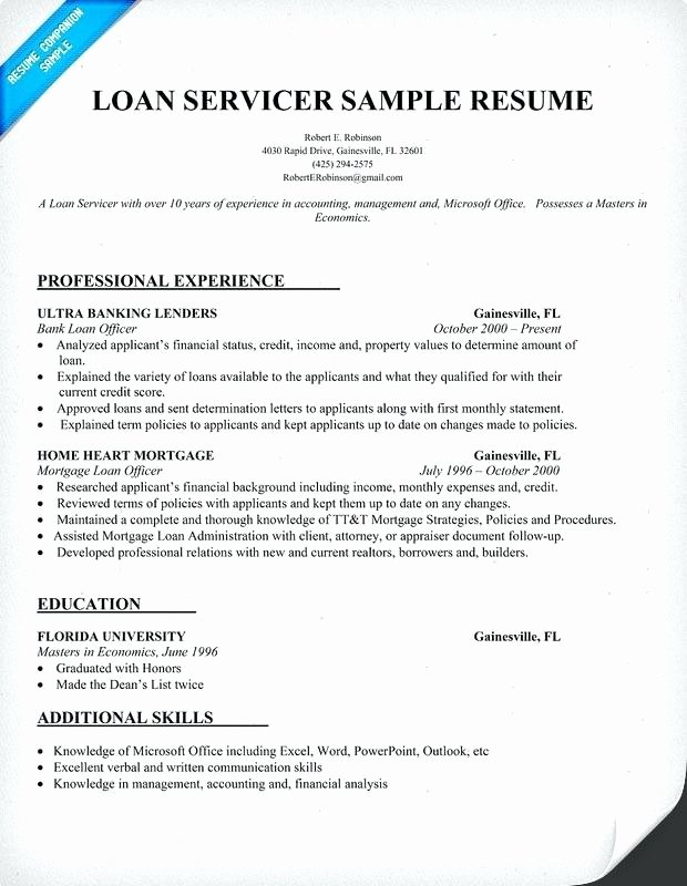 Sample Resume for Loan Processor Cover Letter Resume