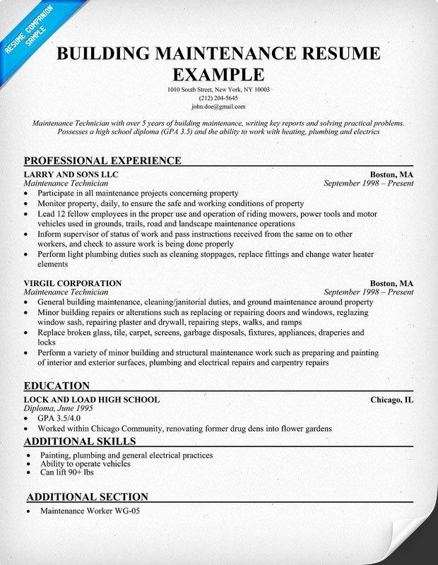 Sample Resume for Maintenance Worker