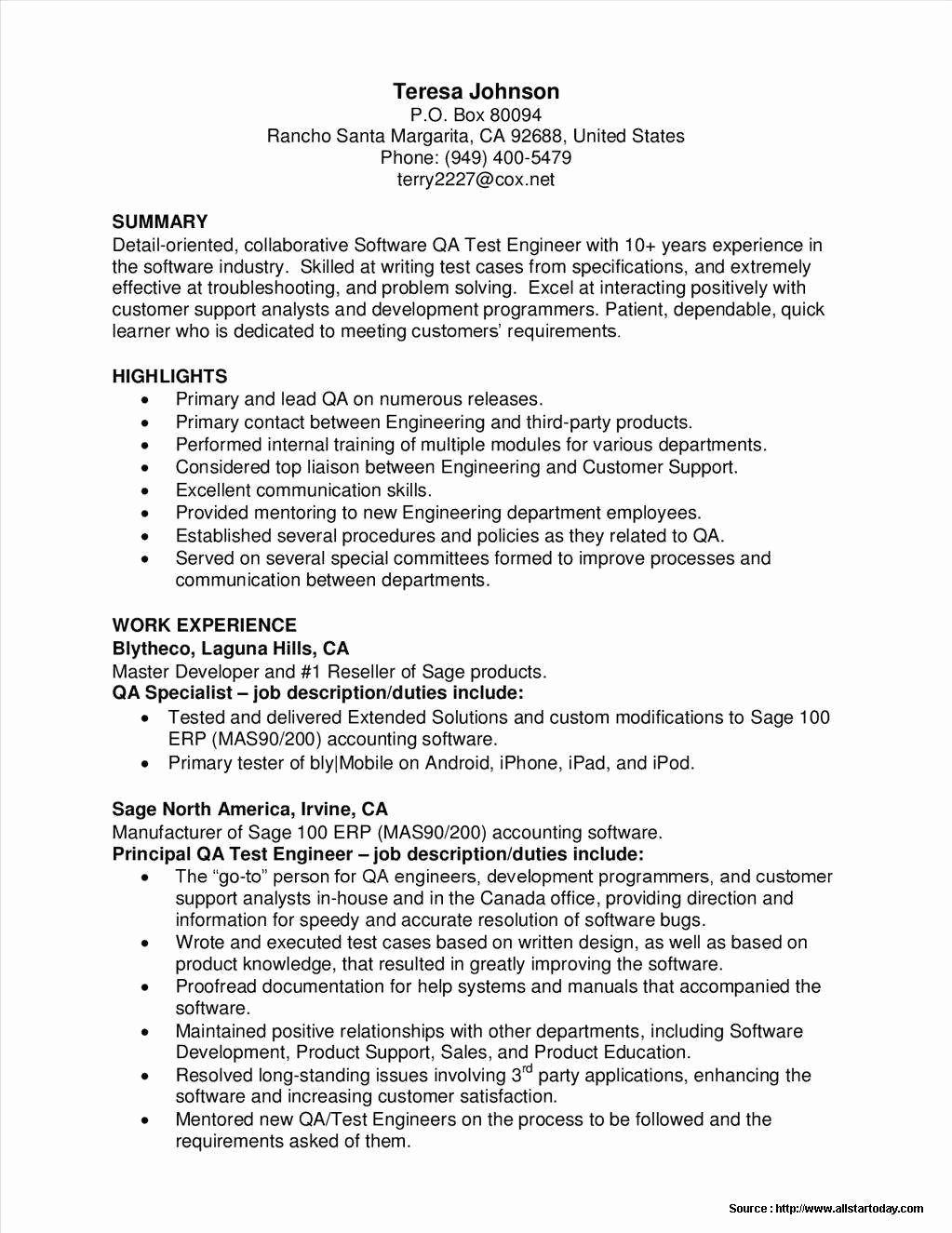 Sample Resume for Manual Test Engineer Manual Guide