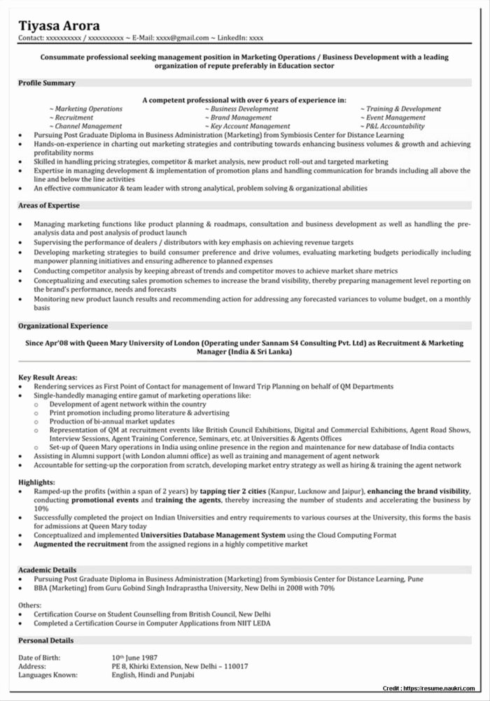 Sample Resume for Mba Freshers Marketing Resume Resume