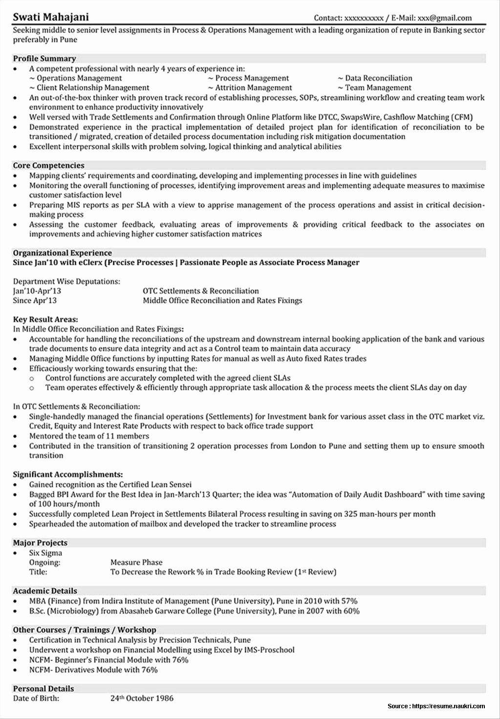 Sample Resume for Mba Operations Freshers Resume