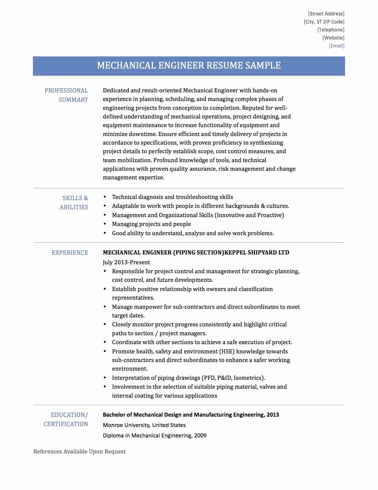 Sample Resume for Mechanical Engineer Experienced Pdf