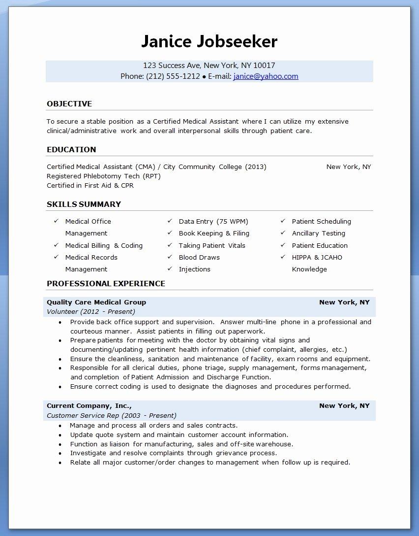 Sample Resume for Medical assistant 2017