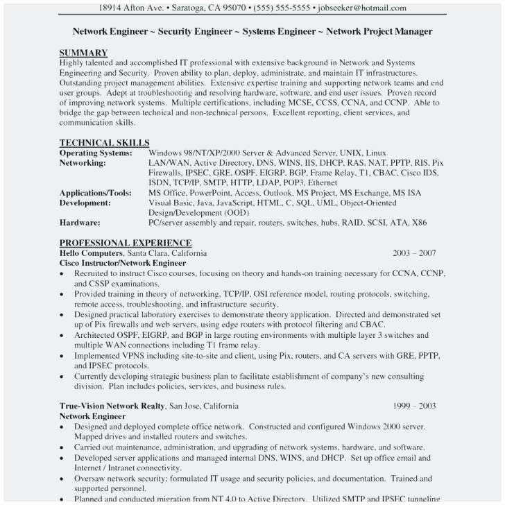 Sample Resume for Network Security Engineer Outstanding