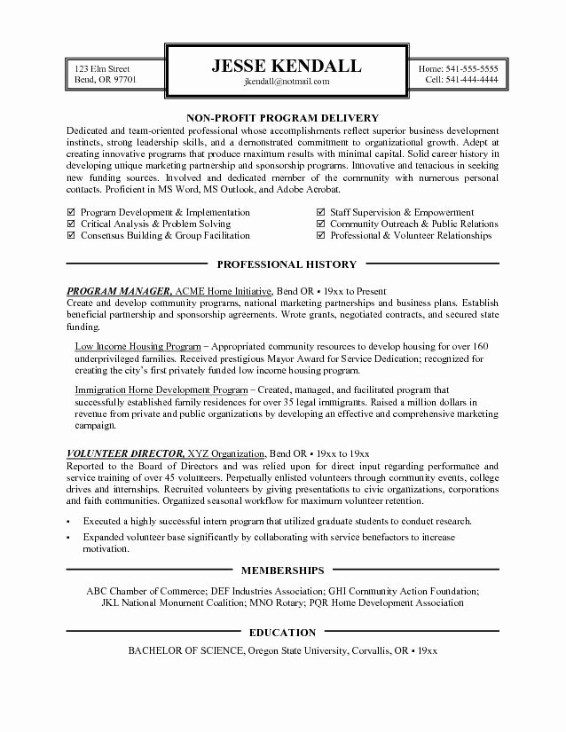 Sample Resume for Non Profit organization