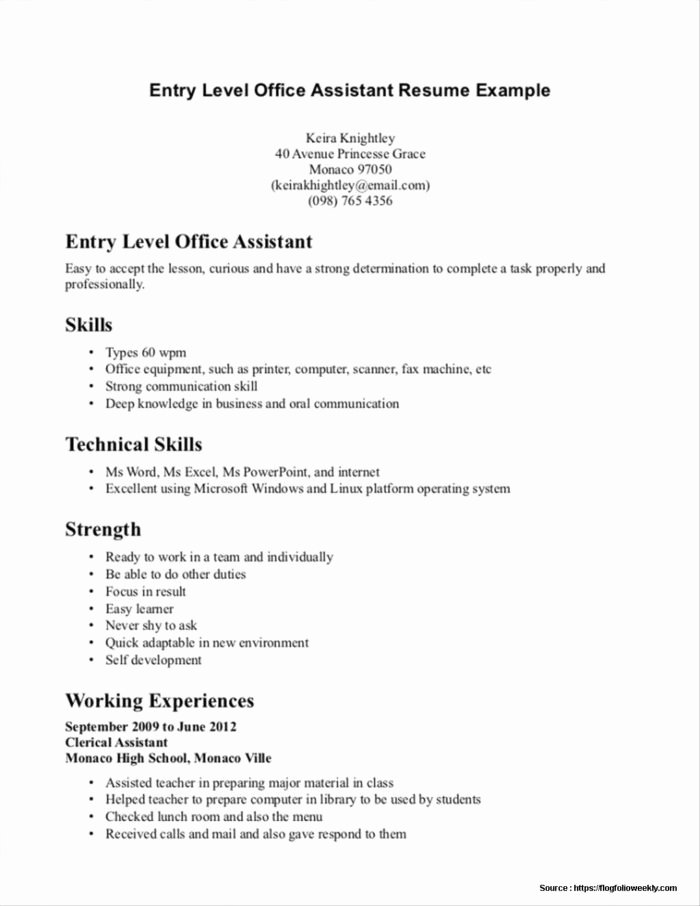 Sample Resume for Nursing assistant Entry Level Resume