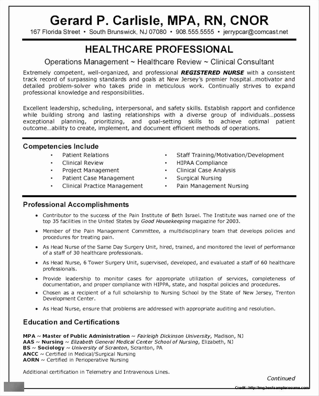 Sample Resume for Nursing Job Application Resume