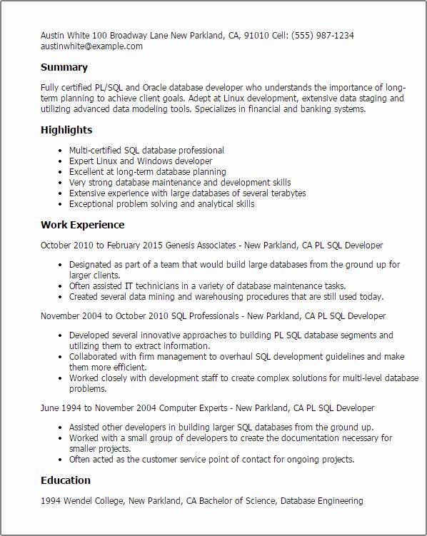 Sample Resume for oracle Pl Sql Developer Search