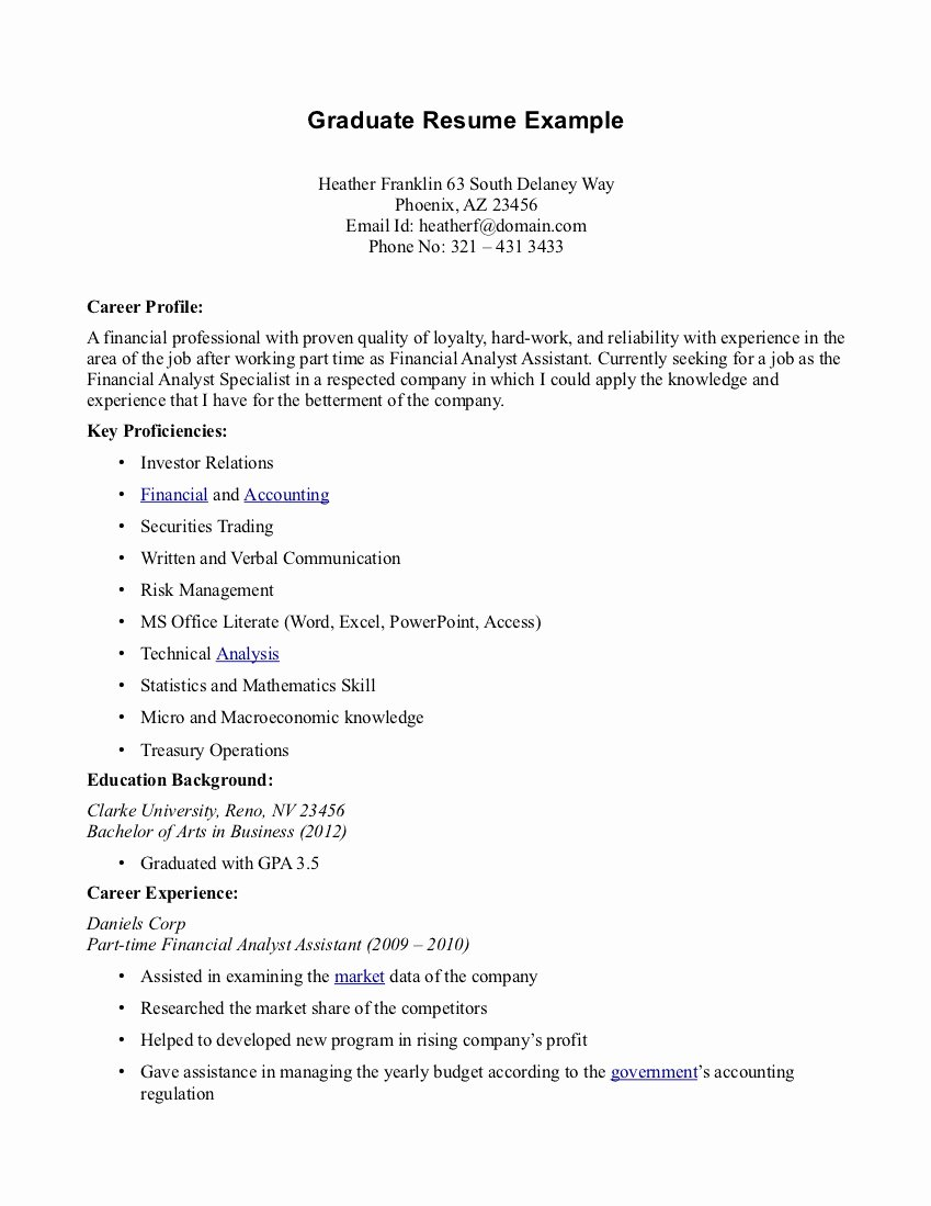 Sample Resume for Part Time Job for Students with No