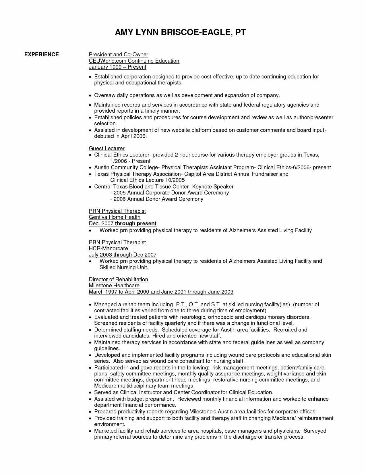 Sample Resume for Physical therapist assistant Resume Ideas