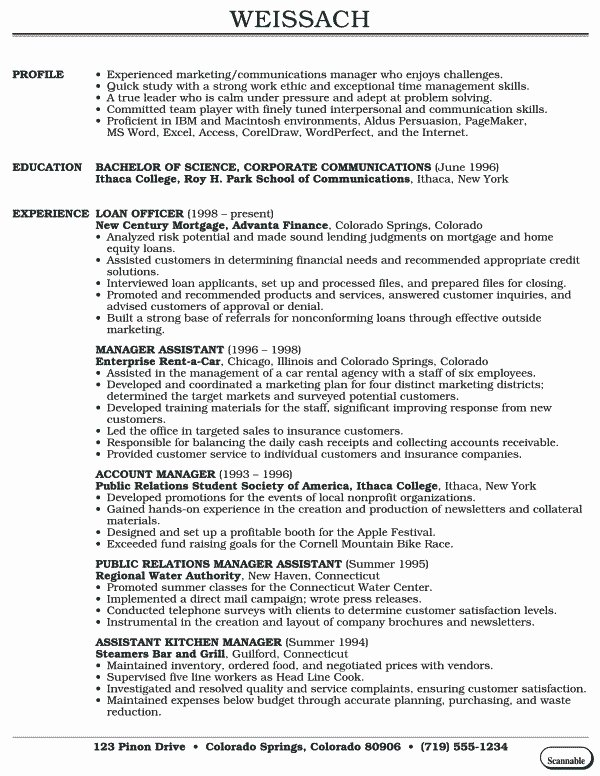 Sample Resume for Recent College Graduate