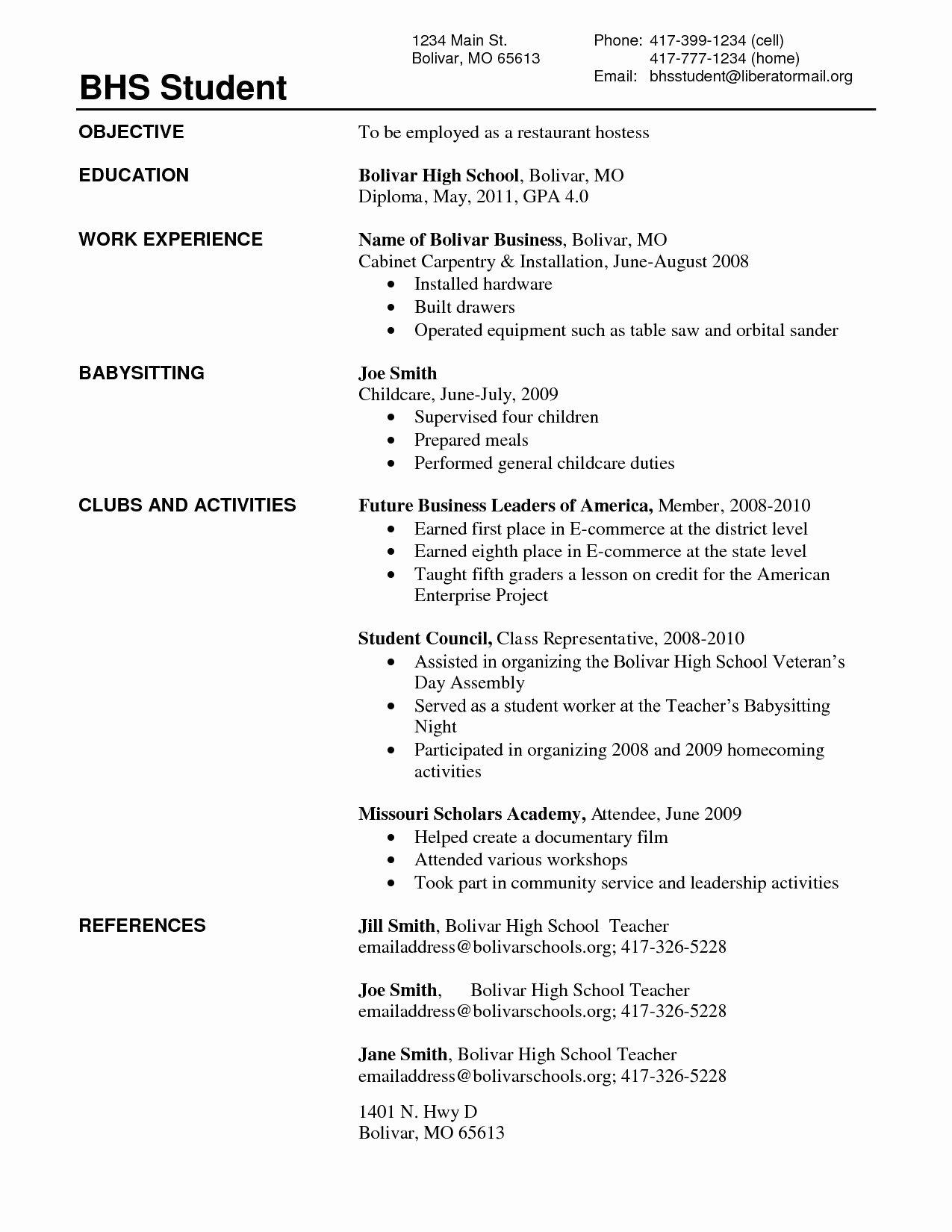 Sample Resume for Recent High School Graduate Free
