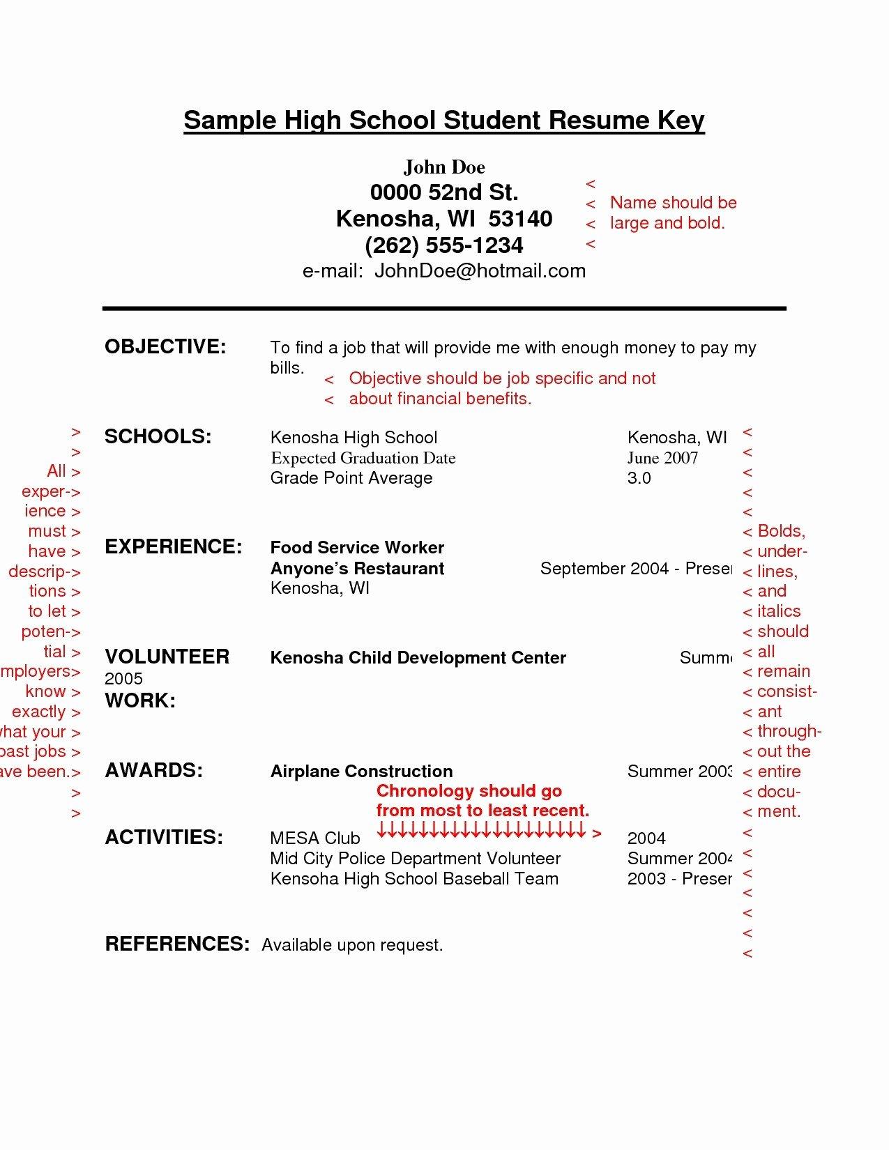 Sample Resume for Recent High School Graduate List