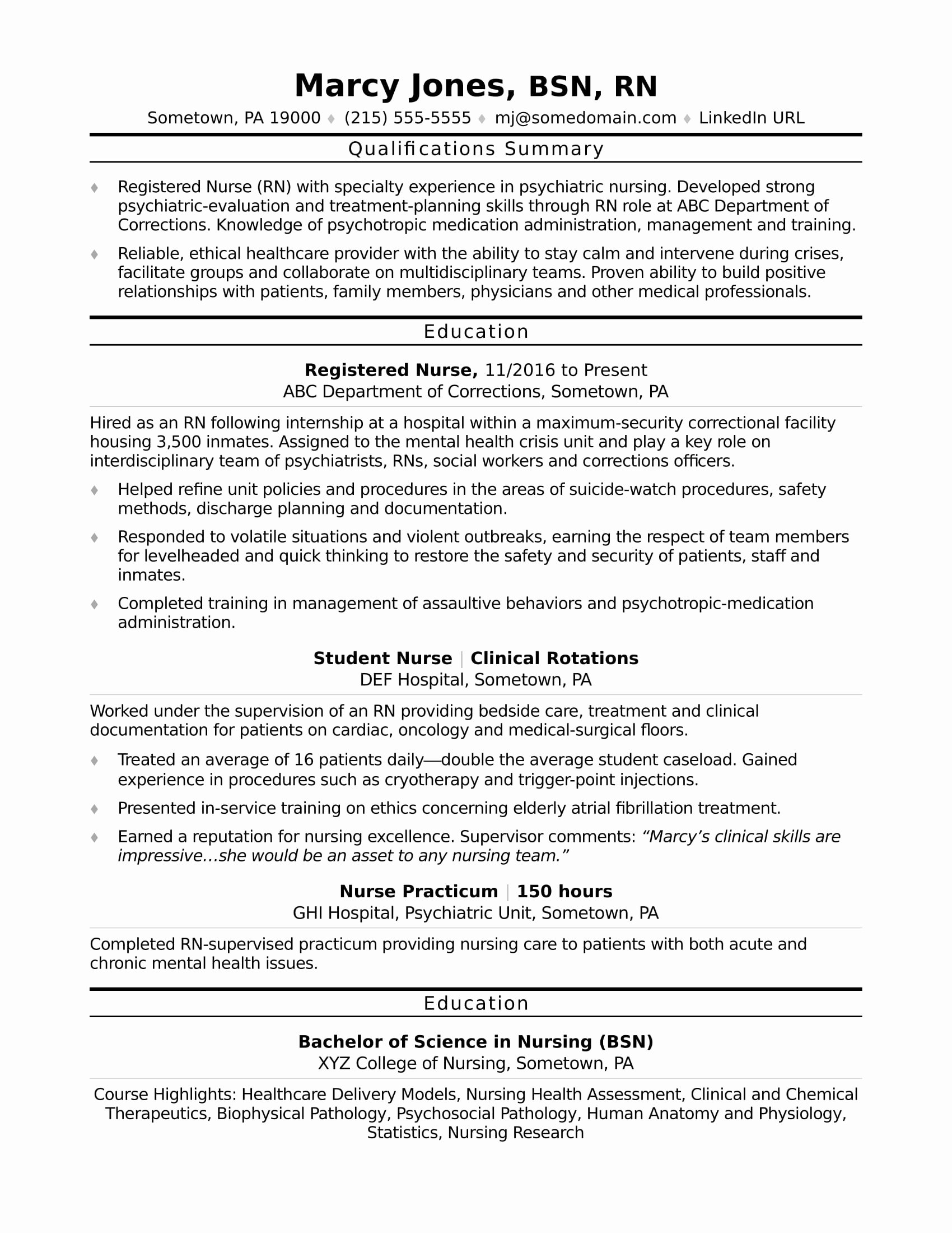 Sample Resume for Registered Nurse Resume Ideas