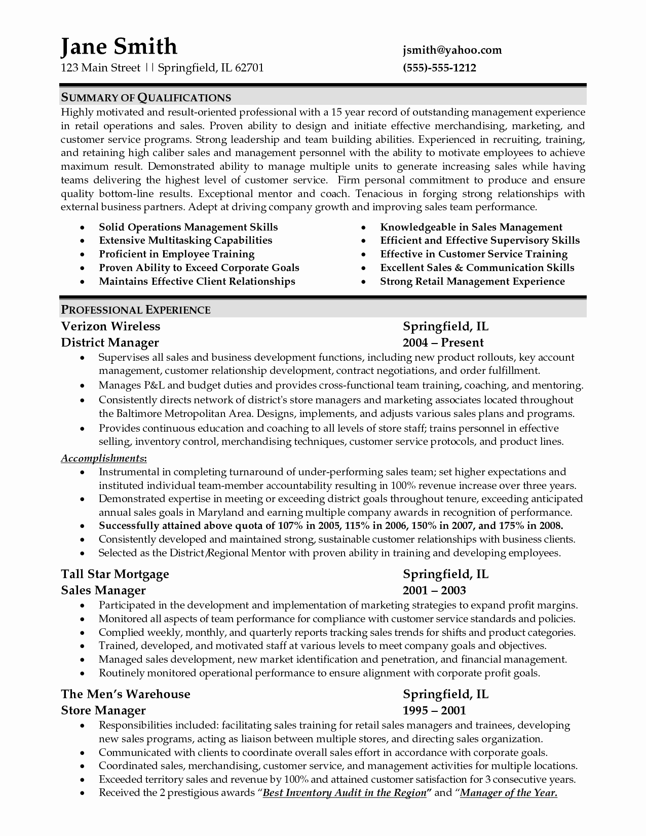 Sample Resume for Retail Management Job
