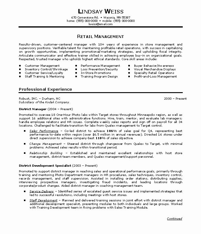 Sample Resume for Retail Manager
