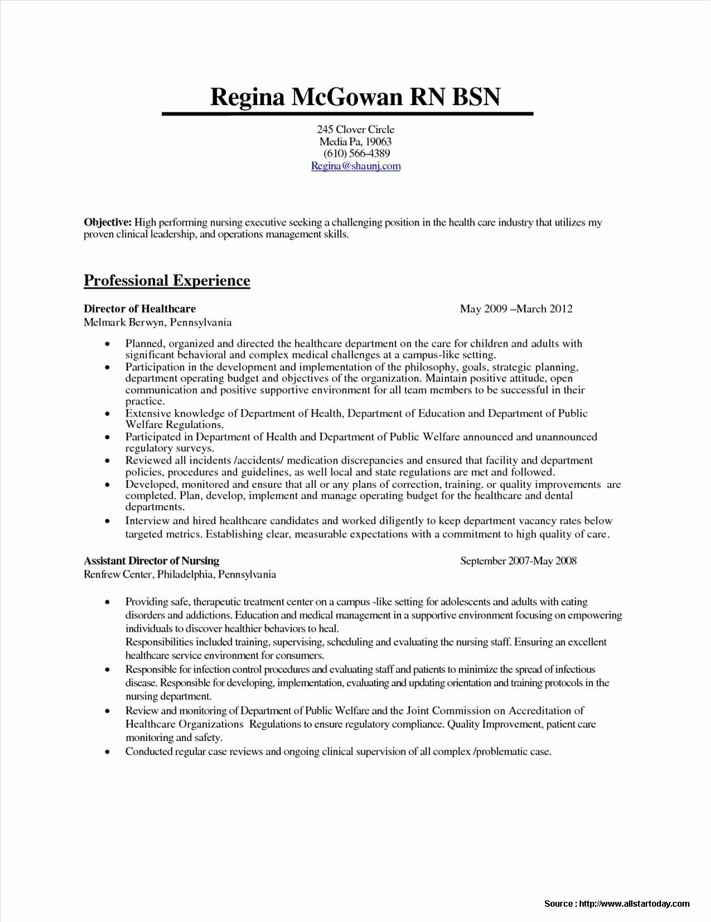 Sample Resume for Rn Bsn Resume Resume Examples