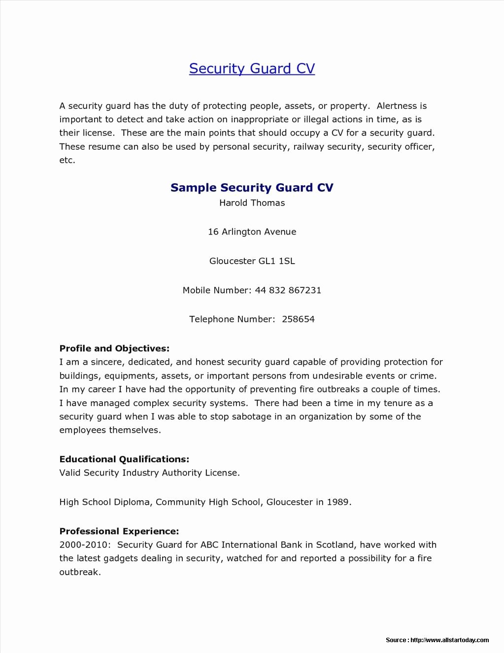 Sample Resume for School Security Guard Resume Resume
