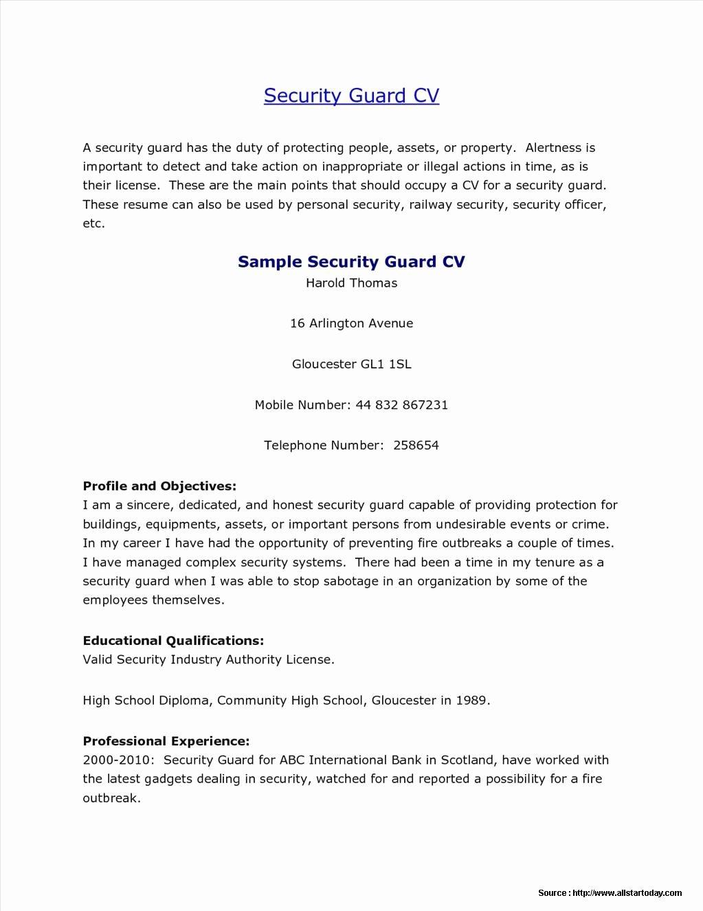 Sample Resume for School Security Guard Resume Resume