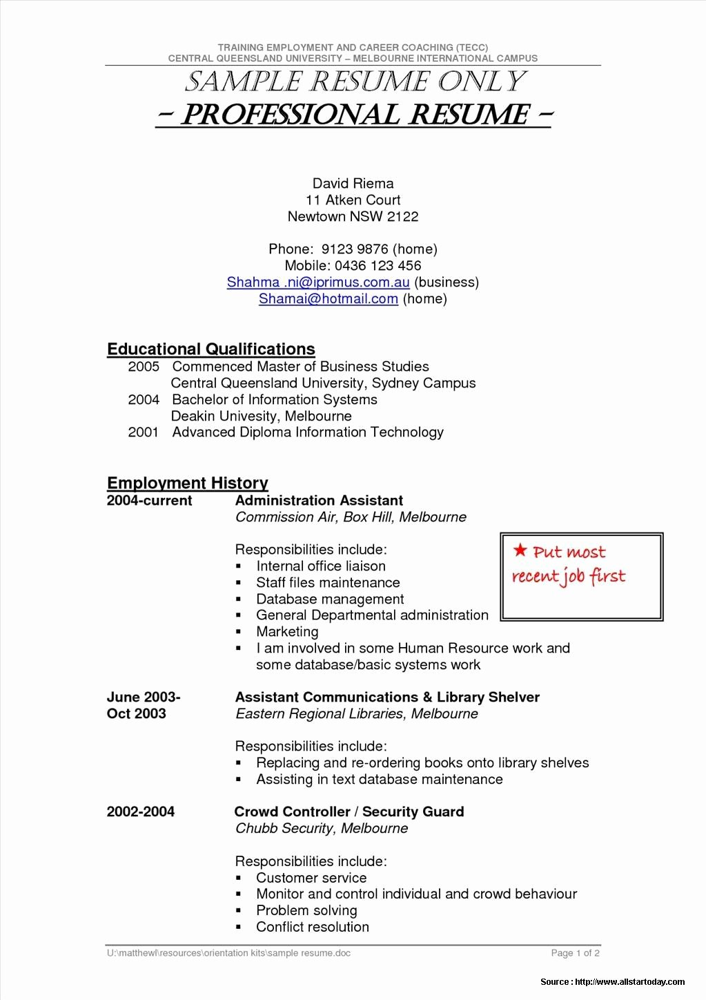 Sample Resume for Security Guard Entry Level Resume