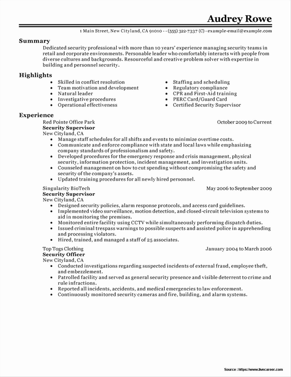 Sample Resume for Security Guard Supervisor Resume