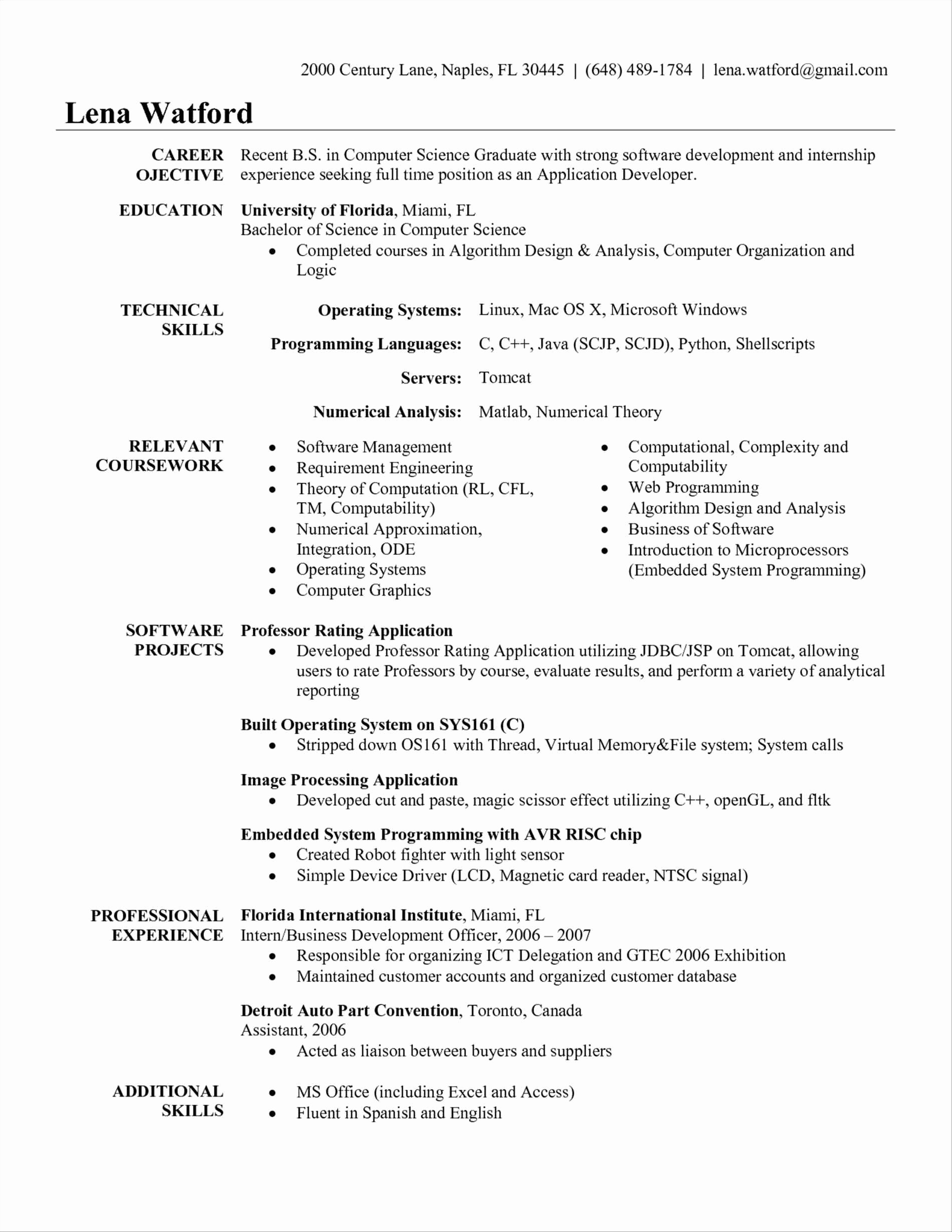 Sample Resume for software Engineer with 2 Years