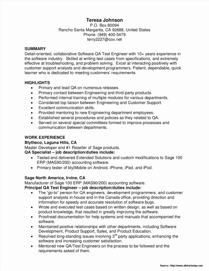 Sample Resume for software Tester Fresher Resume