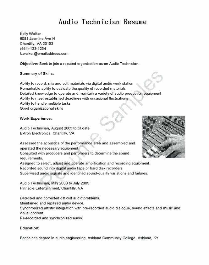 Sample Resume for sound Technician