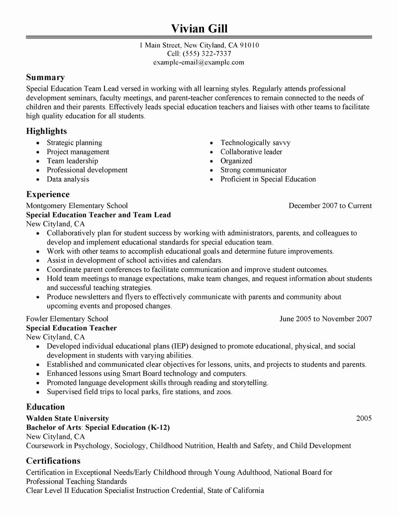 Sample Resume for Team Lead – Perfect Resume format