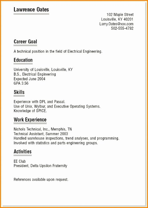 Sample Resume for Teenagers