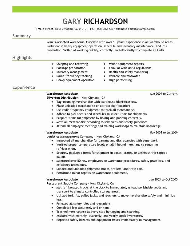 Sample Resume for Warehouse Best Resume Gallery