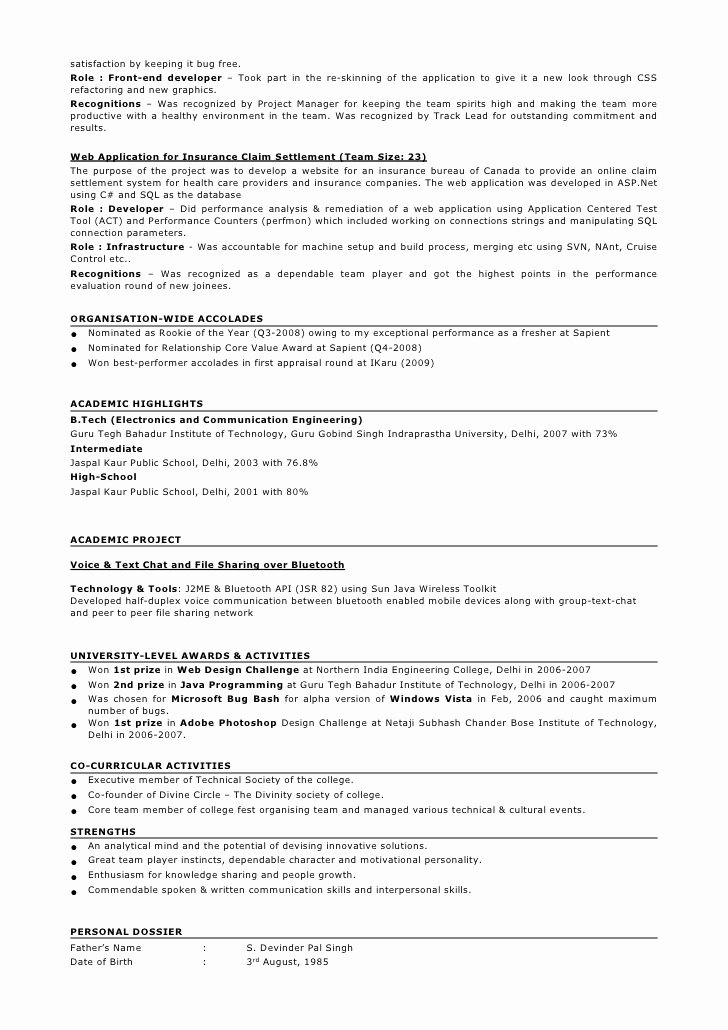 Sample Resume format for 2 Years Experience In Testing