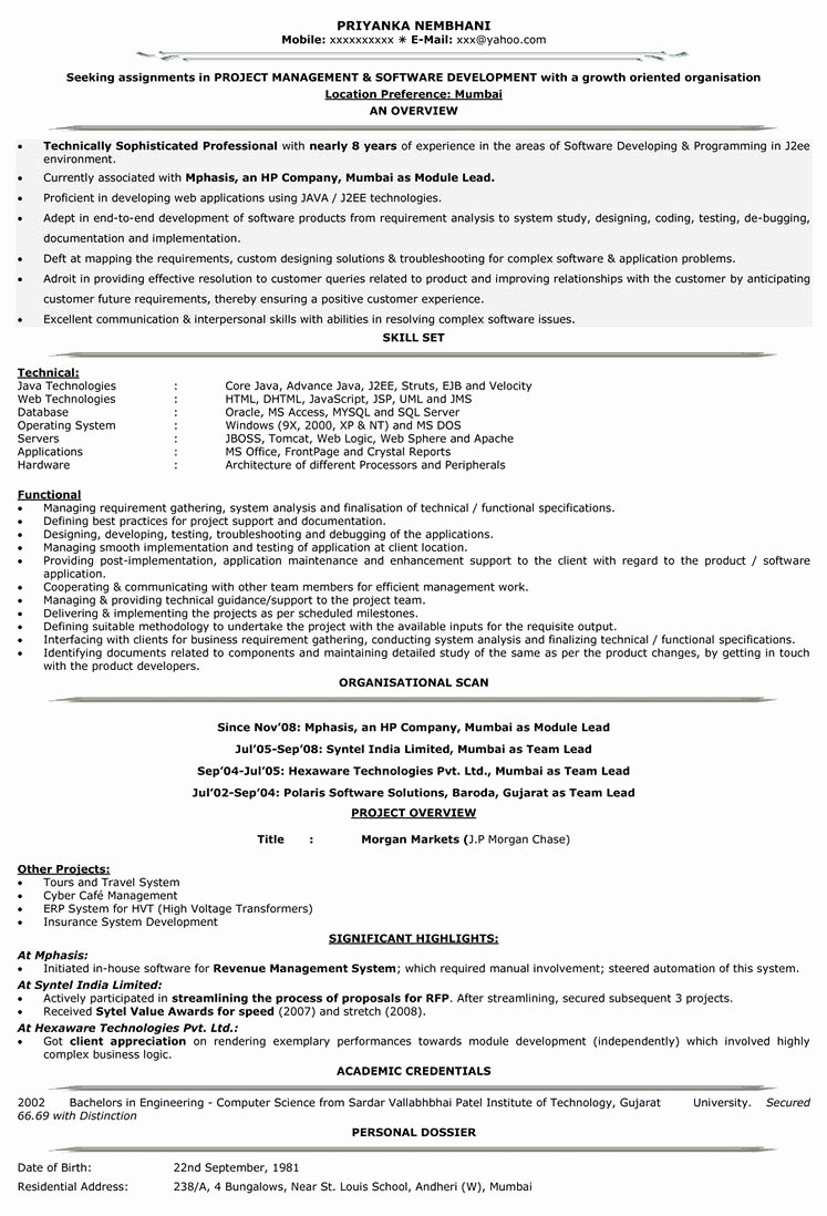 Sample Resume format for Experienced software Engineer