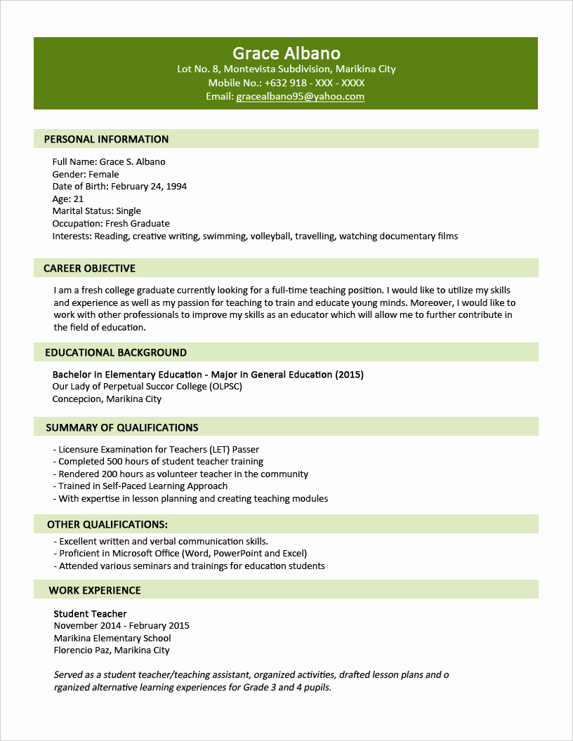 sample resume format fresh graduates two page