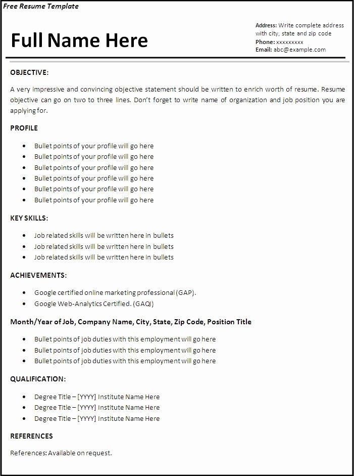 Sample Resume format for Job Application