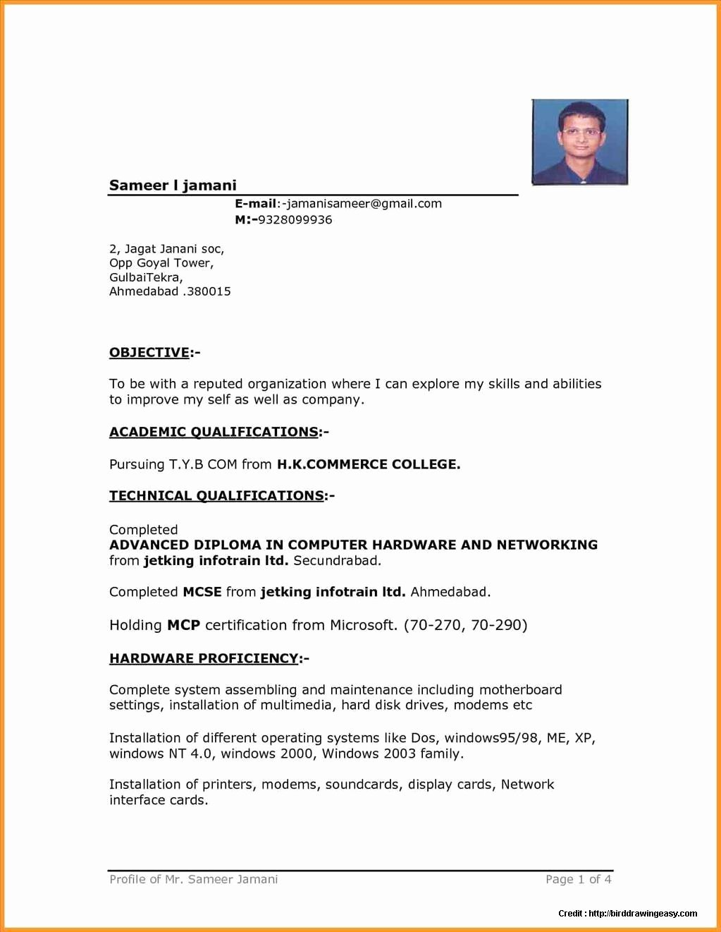 Sample Resume Free Download In Word format Resume