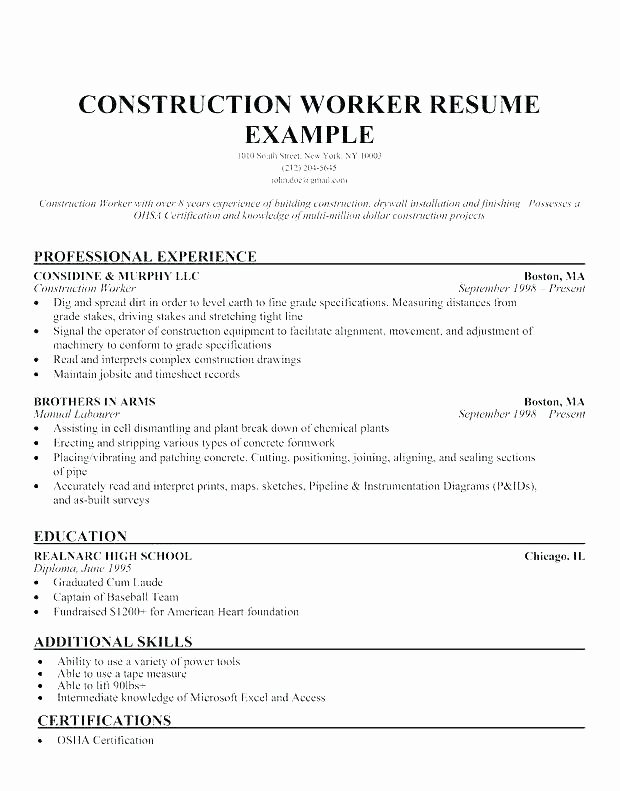 Sample Resume General Laborer Skills for Construction Job