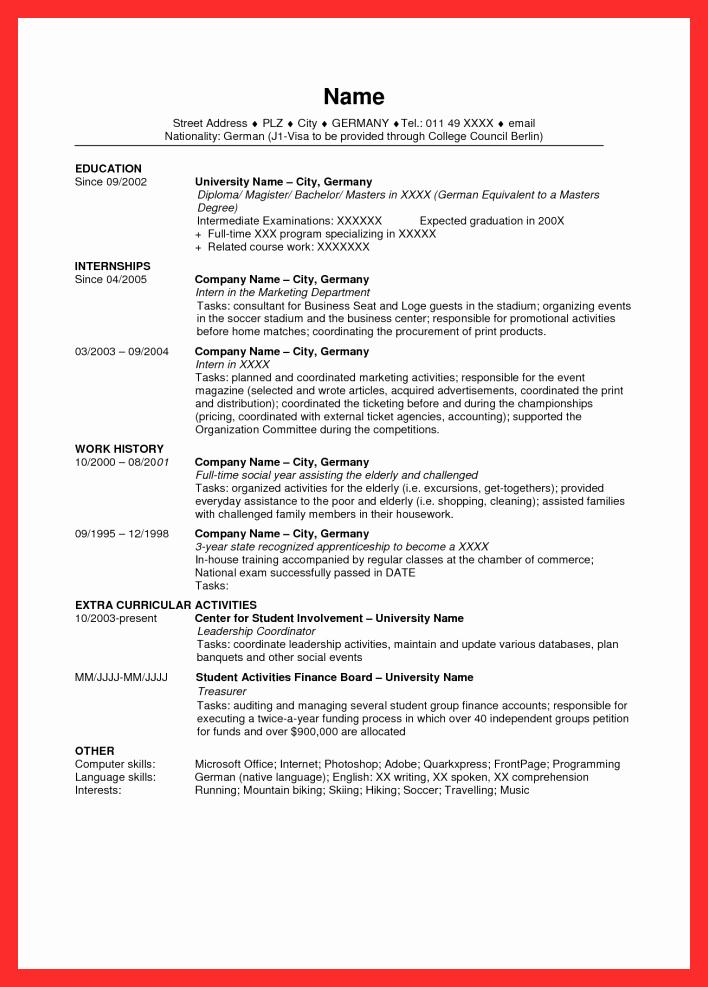 Sample Resume In Usa