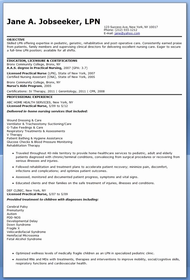 Sample Resume Lpn Nurse original Jungbrunnen Kur
