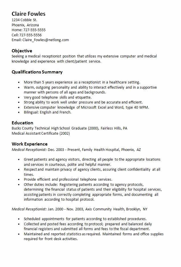 Sample Resume Medical Receptionist